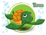 Cute Cartoon Turtle on a color background