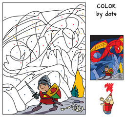 Knight in the dragon's cave. Paint the picture by dots. Educational game for children. Coloring book. Cartoon vector illustration