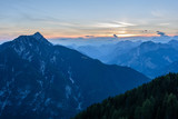 Mountain views from the top of Monte Lussari. Sunset