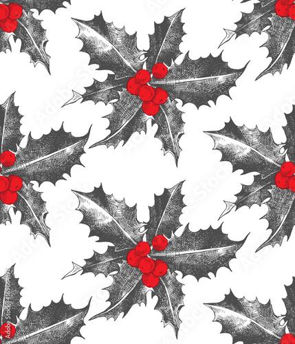 Materiał do szycia Holly berry Christmas seamless pattern