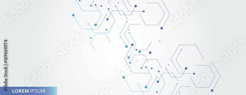 Vector banner design, white background with hexagon pattern - 169664974