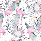 Abstract tropical pattern with flamingo, protea, leaves. Watercolor seamless print. Minimalism illustration - 169665777