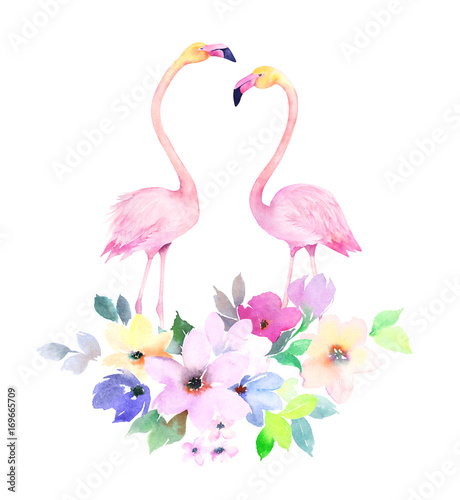 Couple pink flamingos and bouquet flowers. Watercolor print for invitation, birthday, celebration, greeting card - 169665709