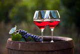 Two glasses of red wine on barrel in the vineyard