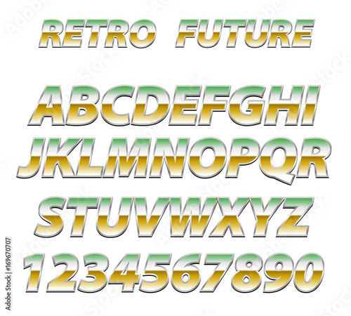 Fototapeta Chrome Alphabet in 80s Retro Futurism style.