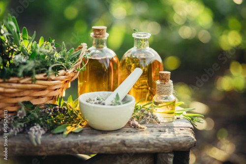 Poster Spa composition with Fresh herbs and different types of oils.