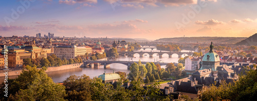 Staande foto Praag Prague sunset from Letna