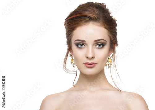 Young pretty girl with hairstyle and makeup