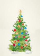 "Постер, картина, фотообои ""Christmas tree. Watercolor illustration"""