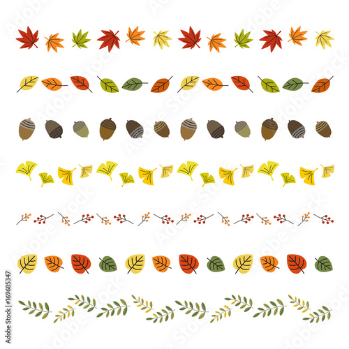 秋の葉っぱ ラインセット / vector eps 10