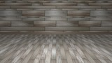 3D rendering room: grey brown wood flooring with a wall made of different bricks
