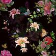 Watercolor painting of leaf and flowers, seamless pattern on dark background - 169696909