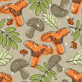 Seamless pattern with autumn leaves and other objects. Vector illustration.