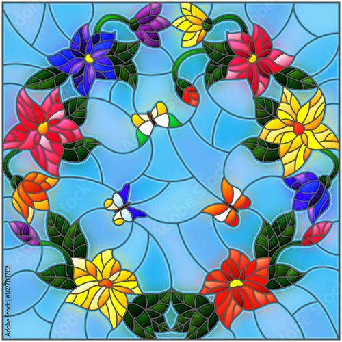 ilustracja-w-stylu-witrazu-z-jasne-kolorowe-kwiaty-w-kolko-i-motyle-na-niebieskim-tle