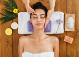 Woman massagist make face lifting massage in spa wellness center