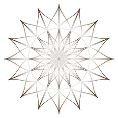 Vector Illustration - Abstract Round Ornament Pattern. Abstract Flower, Mandala or Star for Coloring. Coloring Page.