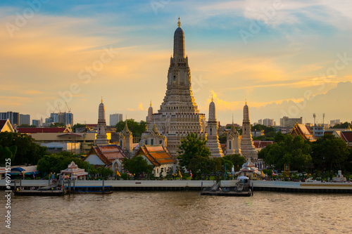 Wat Arun in Bangkok at dusk after finished renovation in August 2017