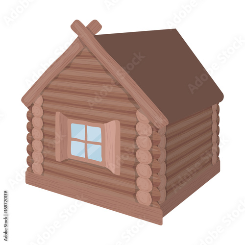 Wooden log cabin. Hut architectural structure single icon in cartoon style vector symbol stock illustration web.
