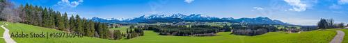 Foto op Plexiglas Panoramafoto s Wanderweg durch das Allgäu mit Blick auf die Alpen - hochauflösendes Panorama