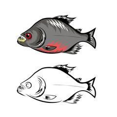 Piranha Fish Isolated on White Background
