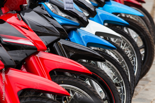 row of new motorbikes for sale