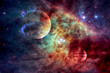 Galaxy and planet in outer space. - 169751928