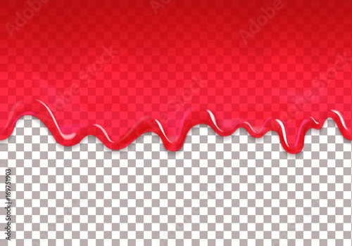 Red jam drips seamless border. Strawberry or raspberry syrup transparent pattern - 169751903