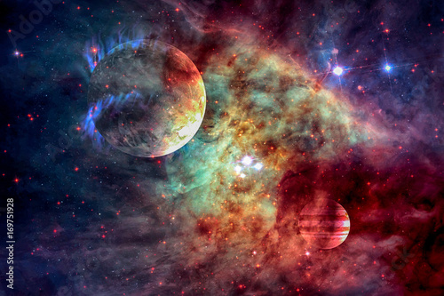 Galaxy and planet in outer space.