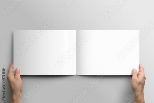 Papiers peints Blanc Blank A4 photorealistic landscape brochure mockup on light grey background.