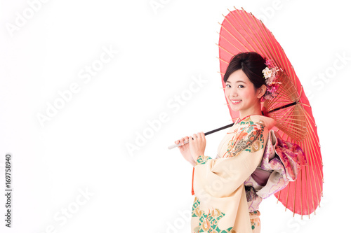 portrait of asian woman wearing japanese traditional kimono isolated on white background