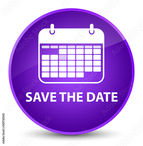 Save the date elegant purple round button - 169760365