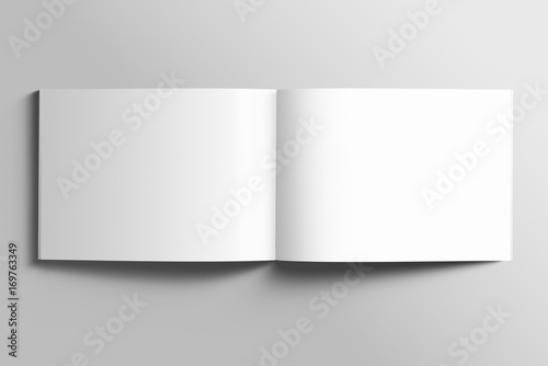 Fotobehang Wit Blank A4 photorealistic landscape brochure mockup on light grey background.