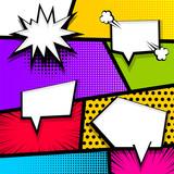 Fototapety Cartoon funny vintage strip comic superhero text, speech bubble, balloon, box message, burst bomb. Vector halftone illustration. Blank humor graphic. Pop art comics book magazine cover template.