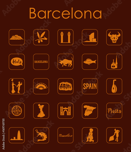 Fotobehang Bruin Set of Barcelona simple icons