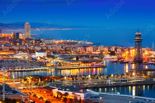 Port and cityspace of Barcelona in evening.  Spain Poster