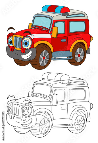 Fotobehang Auto cartoon funny off road fire fighter truck looking like monster truck isolated - coloring page