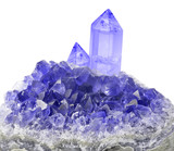 large crystals in blue sapphire druse on white