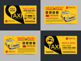 Fototapety Set of taxi service business cards layout templates. Create your own business cards. Mockup Vector illustration.