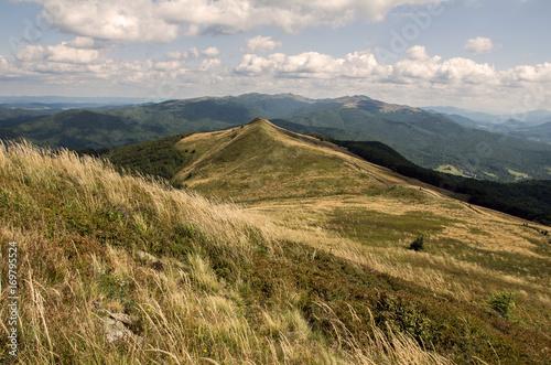 Fotobehang Bleke violet Landscape in Bieszczady Mountains. Bieszczady is a part of Carpathian mountains. Poland.