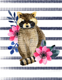 Watercolor illustration with little raccoon and peony and leaves. Beautiful raccoon and flowers on a white background. Child illustration. - 169802938