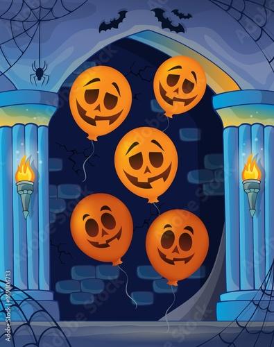 Fotobehang Voor kinderen Wall alcove with Halloween balloons 1