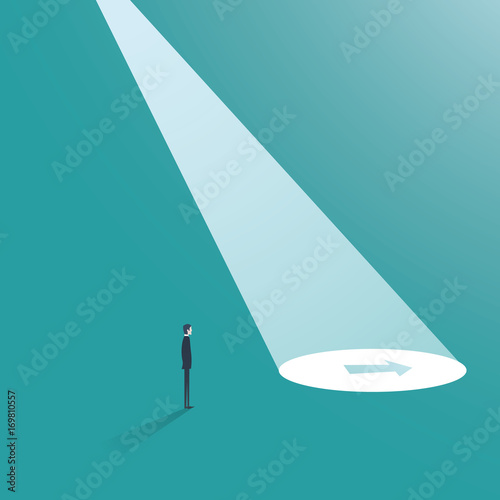 Business direction vector concept with arrow in spotlight. Business career decision, venture or investment opportunity, businessman as visionary.