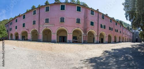 Foto op Canvas Lavendel MONTEROSSO AL MARE, ITALY, AUGUST 18, 2017 - Panoramic view of Sanctuary of Nostra Signora di Soviore, La Spezia province, near Monterosso in 5 terre, Italy.