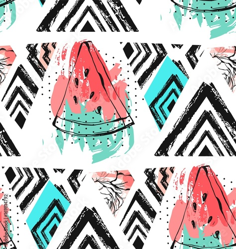 Materiał do szycia Hand drawn vector abstract unusual summer time decoration collage seamless pattern with watermelon,aztec and tropical palm leaves motif isolated.