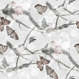 Watercolor painting of Butterfly and flowers, seamless pattern on gray background - 169818718