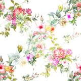 Watercolor painting of leaf and flowers, seamless pattern on white background - 169818798