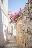 Old street narrow in Korcula, Croatia