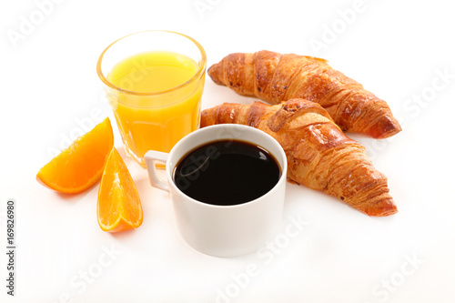 Poster coffee cup,croissant and orange juice