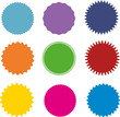 Set of vector starburst, sunburst badges. Nine different color. A collection of different types and colors icon. - 169828741