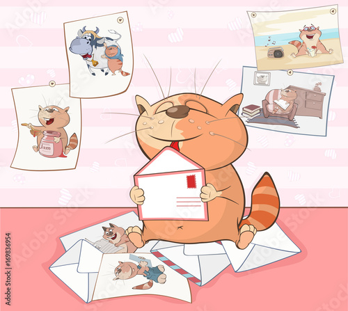 Papiers peints Chambre bébé Illustration of a Cute Cat. Cartoon Character